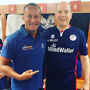 Andy Khawaja with Prince Albert of Monaco at World Stars Football match